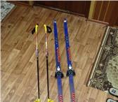 Фотография в Спорт Спортивный инвентарь Продаю пластиковые лыжи (160см), палки (120см в Архангельске 1500